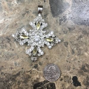 Rhinestone cross necklace pendant. No flaws